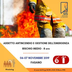 Corso Addetto Antincendio e Gestione dell'Emergenza - Rischio Medio @ Fasano | Puglia | Italia
